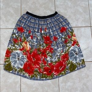 Anthropologie Odille lined floral printed skirt